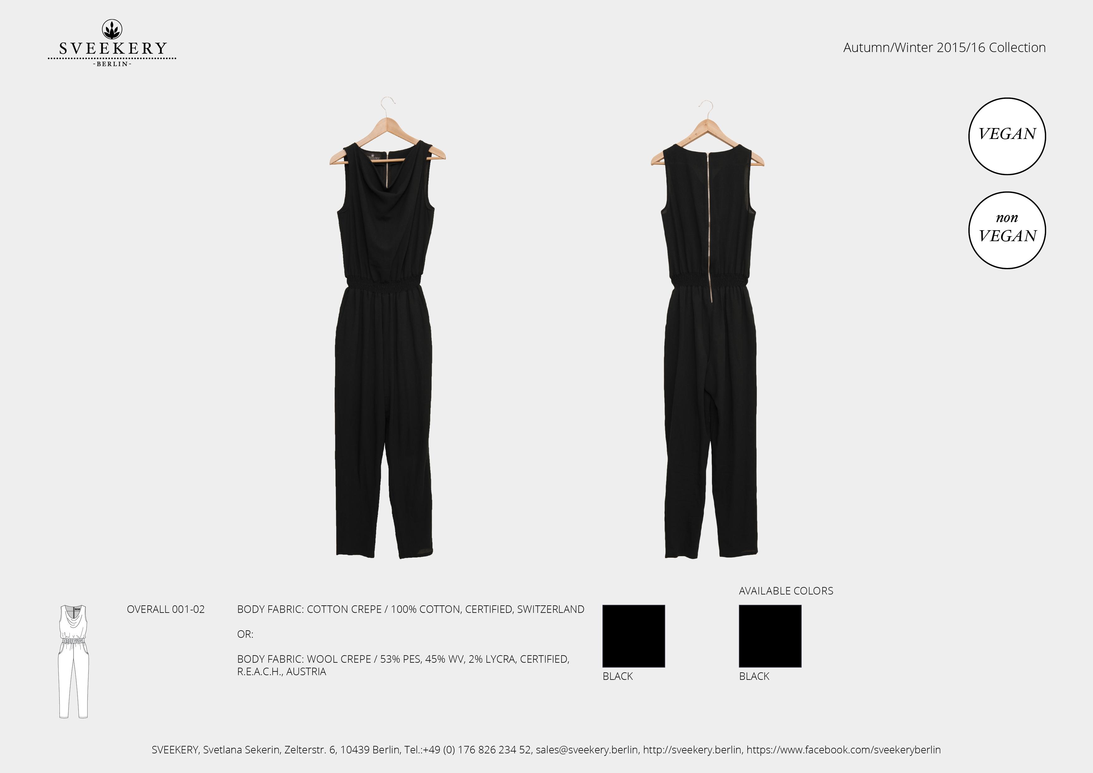 SVEEKERY Overall 001-02 in schwarz mit Metall-Reißverschluss im Rücken