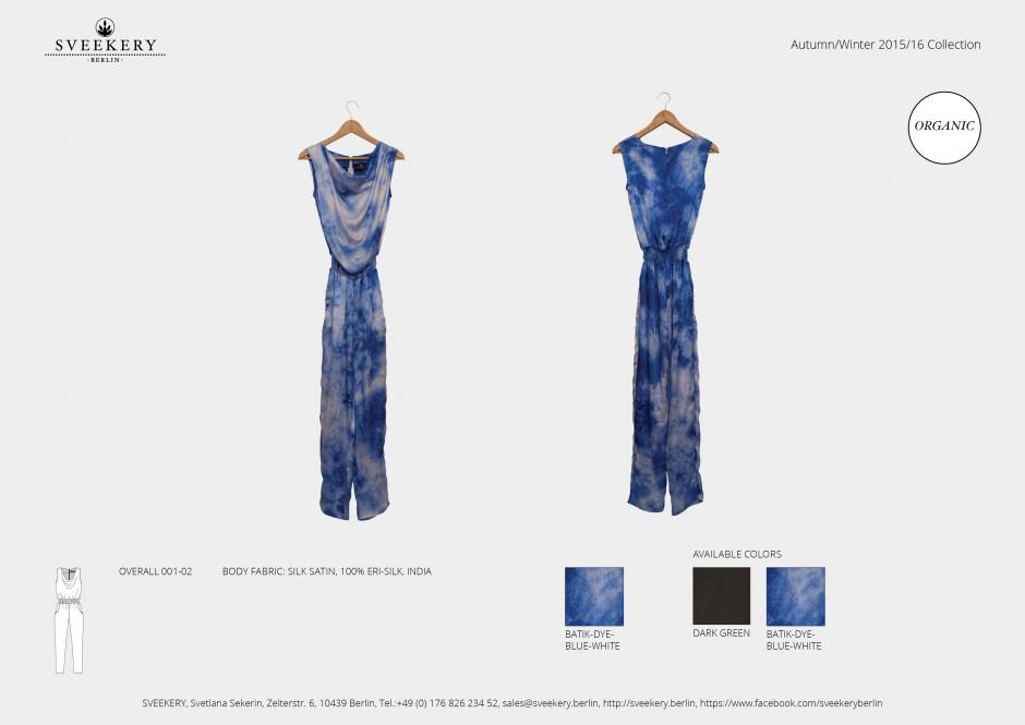 SVEEKERY Batik Seidensatin Overall 001-02 handgefärbt aus gewaltfreier Seide (Peace Silk)