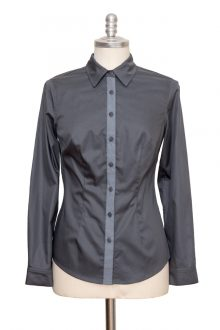 grey classic blouse made of fine cotton satin - Sveekery Berlin