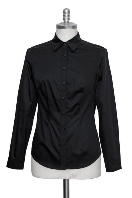 black classic blouse made of fine cotton satin - Sveekery Berlin