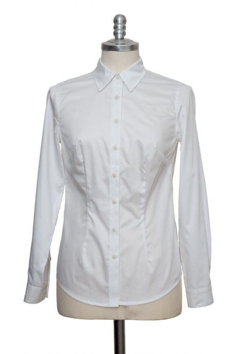 white classic blouse made of fine cotton satin - Sveekery Berlin