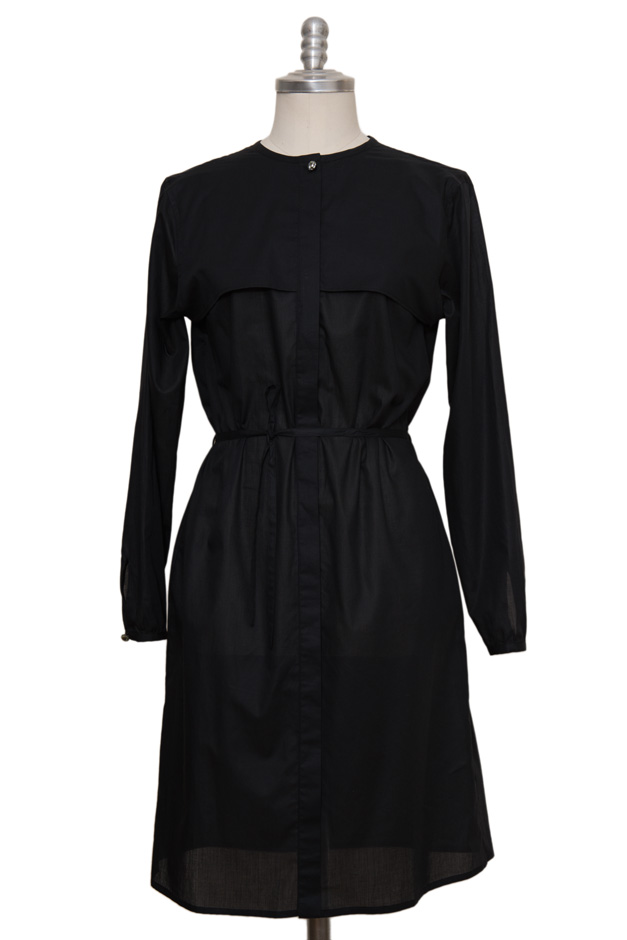 black casual blouse dress made of extra fine cotton - Sveekery Berlin