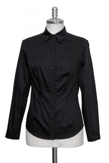 black classic blouse made of fine cotton satin - Sveekery Berlin