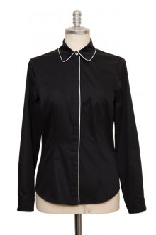black classic blouse made with white pipping of fine cotton satin - Sveekery Berlin