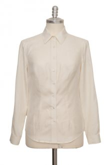 nature white classic blouse made of fine peace silk - Sveekery Berlin
